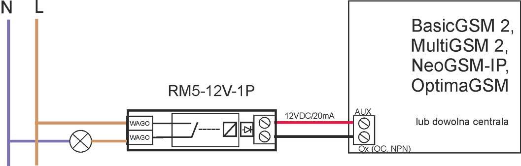 Schemat pracy przekaźnika Ropam RM5 12V 1P