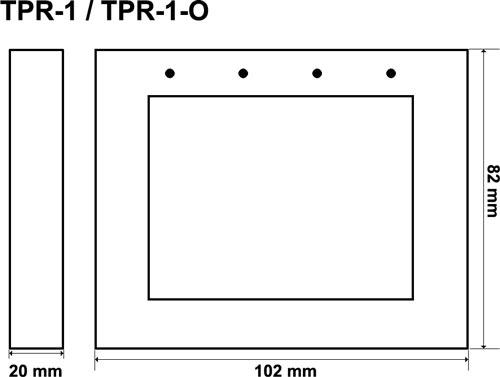 TPR-1 / TPR-1-O - Wymiary panelu dotykowego.