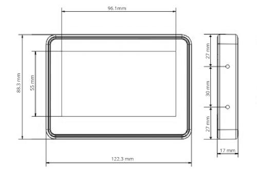 TPR-4S-P - Wymiary panelu dotykowego.