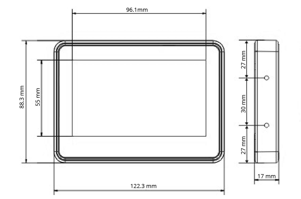 TPR-4S - Wymiary panelu dotykowego.