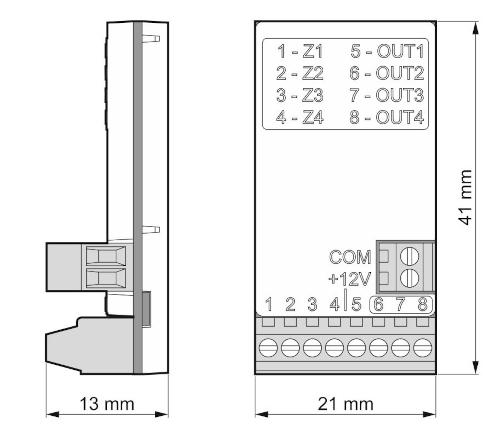 Wymiary ekspandera ACX-210.