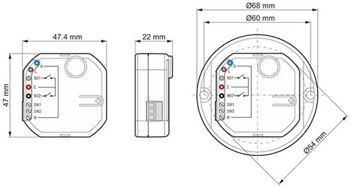 Wymiary sterownika ASW-210.
