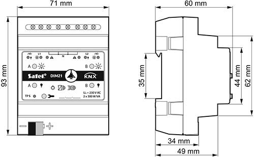 Wymiary KNX-DIM21.