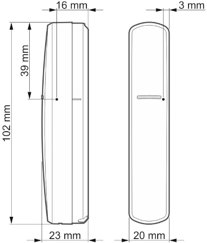 Czujka XD-2 - wymiary