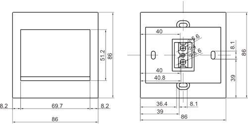 BT-2D - Wymiary przycisku wyjścia (mm).