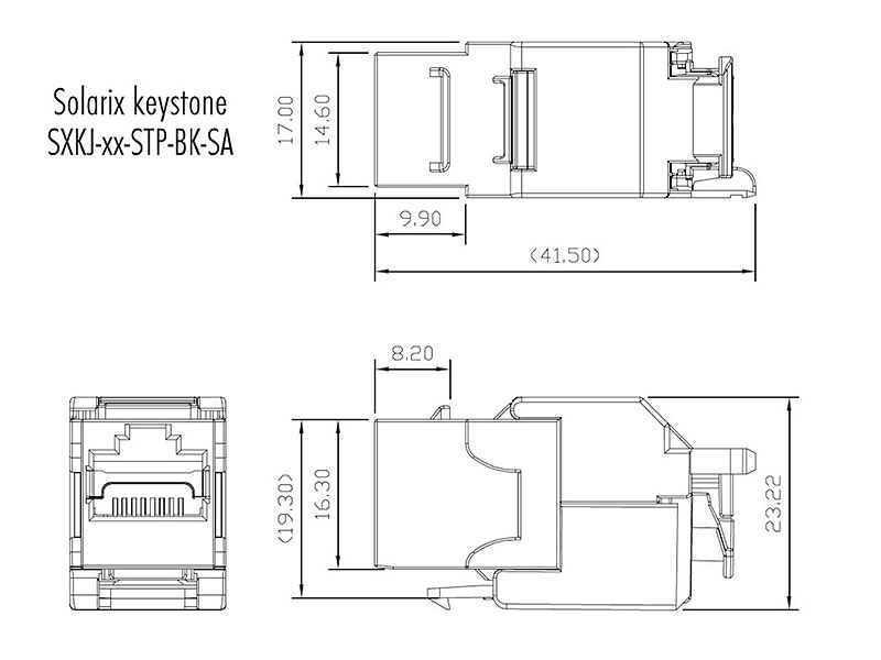 Wymiary modułu keystone - SXKJ-10G-STP-BK-SA