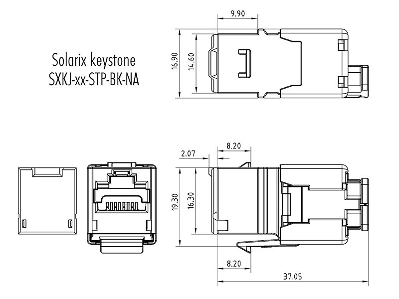 Wymiary modułu keystone - SXKJ-10g-STP-BK-NA