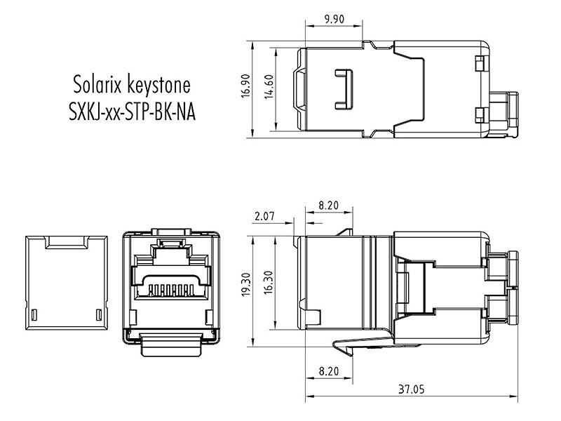 Wymiary modułu keystone SXKJ-5E-STP-BK-NA