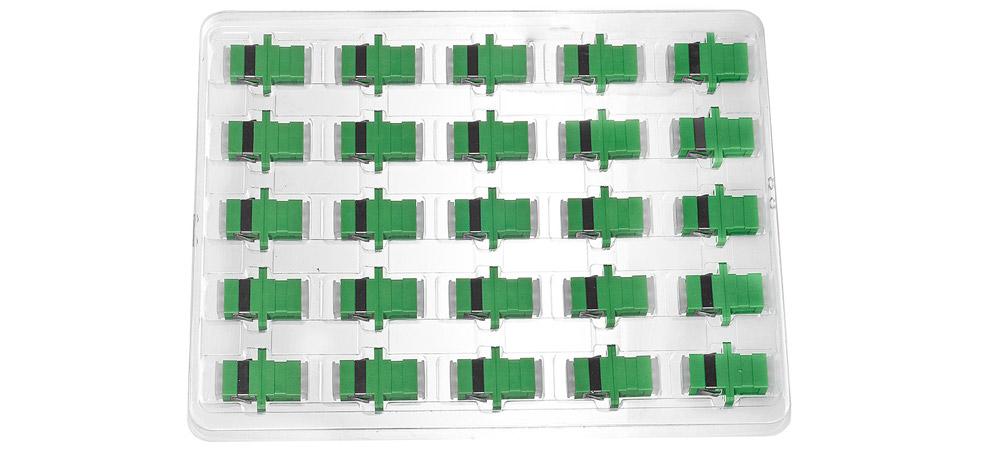 Opakowanie zbiorcze adaptera światłowodowego SC APC SM simplex.