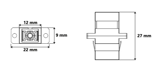 Wymiary adaptera światłowodowego.
