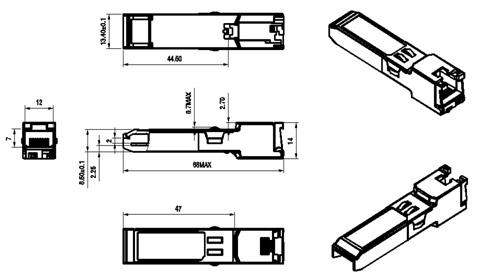 Wymiary modułu SFP RJ45 w milimetrach.