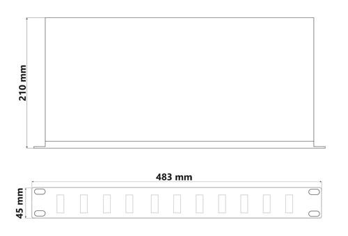 Wymiary przełącznicy światłowodowej Eagle Power Optical Fiber (mm).