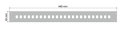 Wymiary panelu do przełącznicy światłowodowej (mm).
