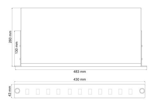 Wymiary przełącznicy światłowodowej Rack Systems (mm).