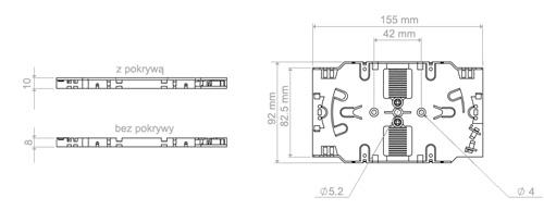 Wymiary tacki światłowodowej podane w milimetrach.