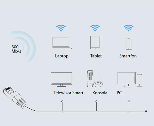 Dwie możliwości współpracy - LAN i WiFi.