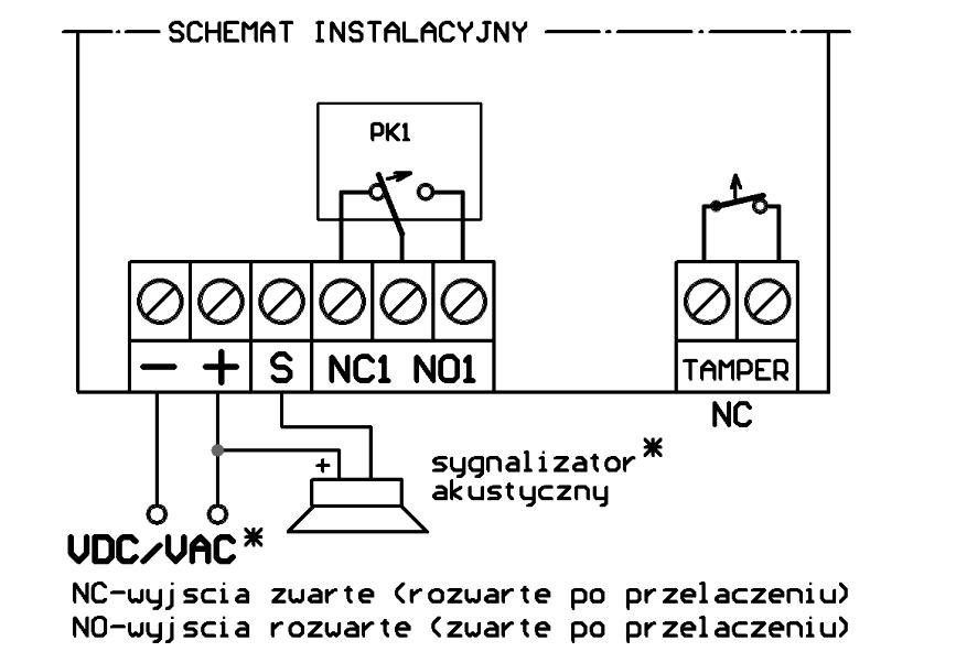 UMB100HShet - Schemat podłączenia odbiornika.