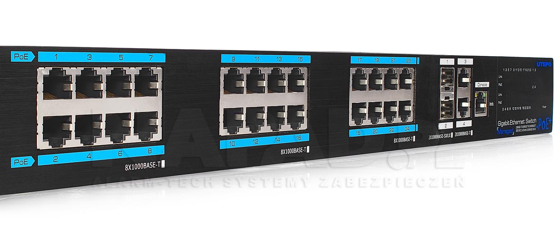 UTP7524GE-POE-A1 - Wyjścia Gigabitowe RJ45 PoE w switchu.