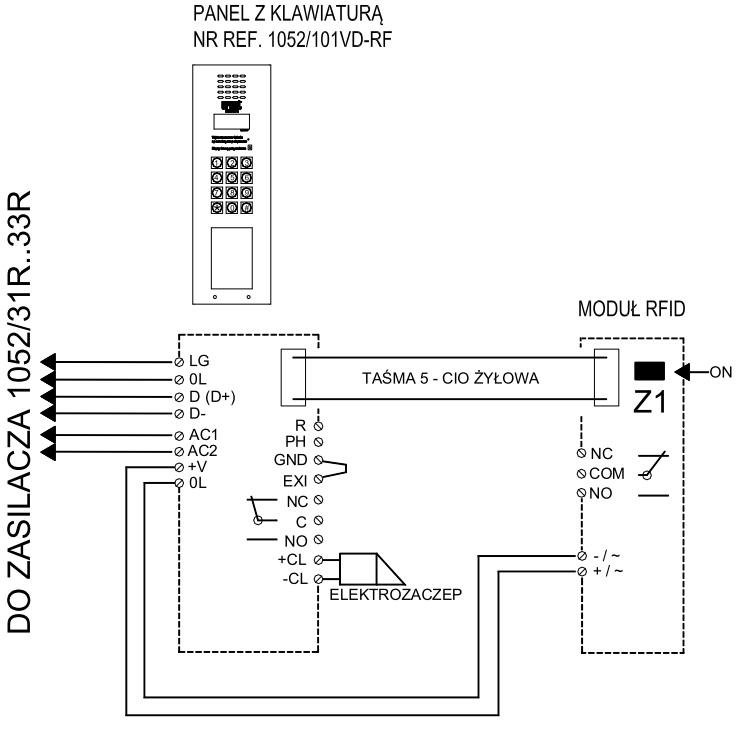 Przykładowy schemat połączenia 1052/101VD-FR
