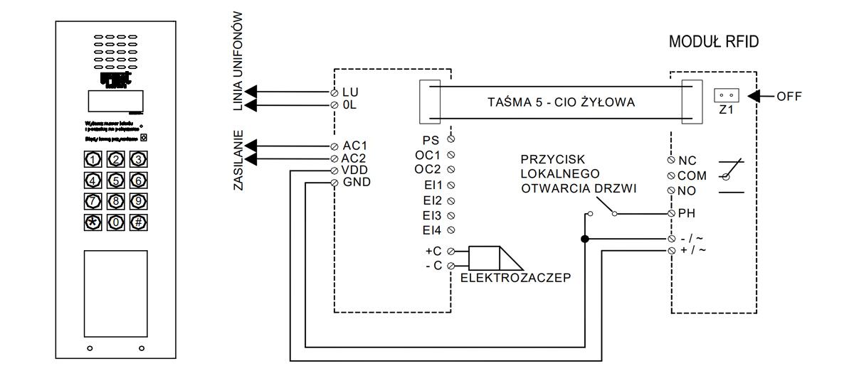 Schemat podłączania panelu Urmet.