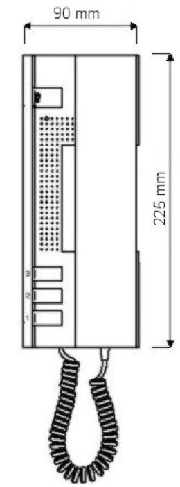 Wymiary unifonu Urmet 1134/1.