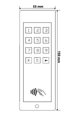 Wymiary zameka kodowego z czytnikiem (mm).