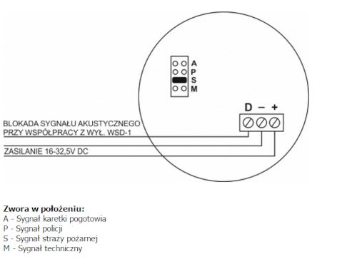 Schemat podłączenia sygnalizatora.