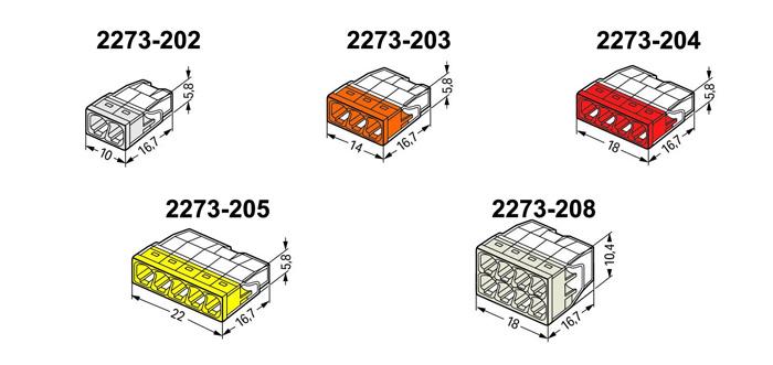 Wymiary szybkozłączki WAGO COMPACT (mm).