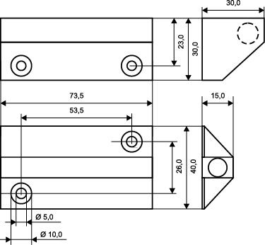 Wymiary czujnika powierzchniowego MC270-S68.
