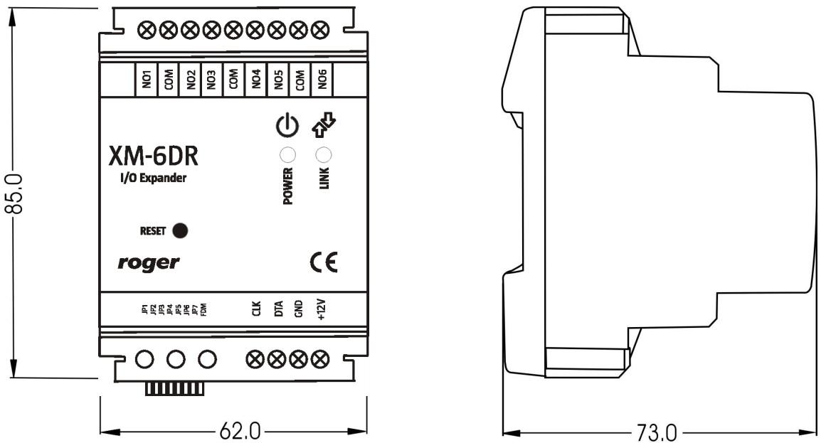 Wymiary ekspandera we/wy XM6DR.