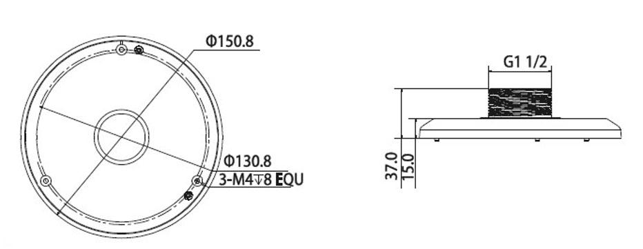 BCS-AD45 / PFA100 - Wymiary adaptera w milimetrach.