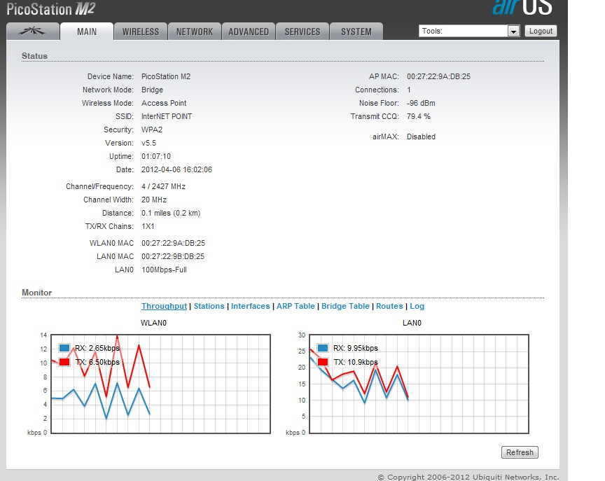 System airOS PicoStation M2 HP
