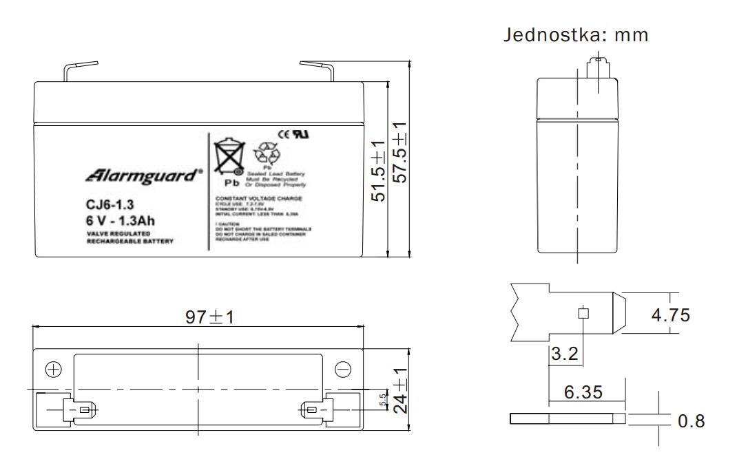 Wymiary akumulatora 1.3Ah 6V.