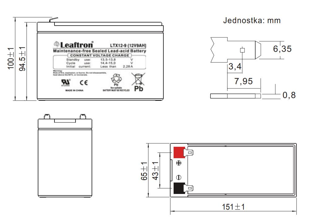 LTX12-9 - Wymiary akumulatora.