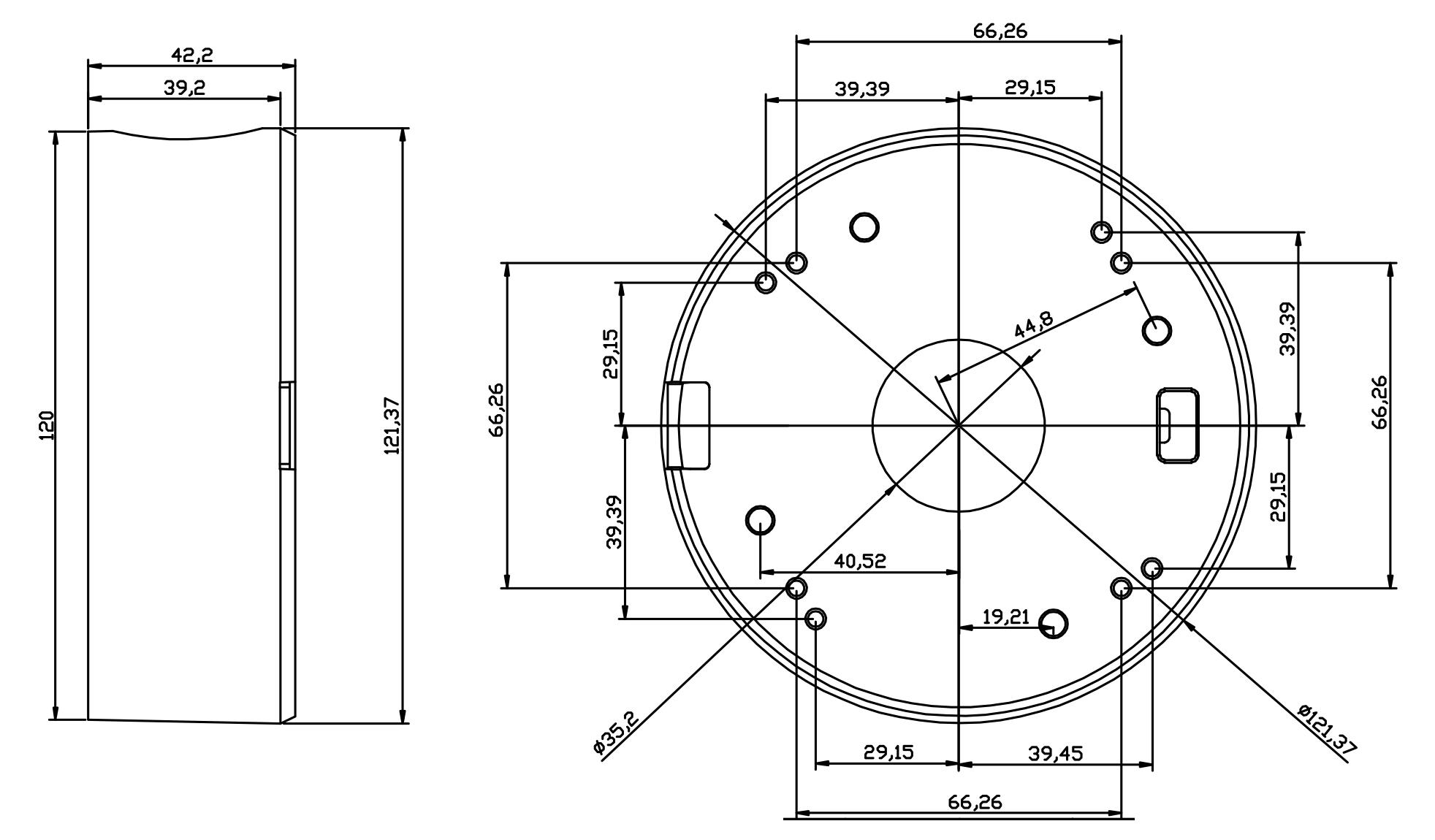 B170 - Wymiary uchwytu do kamer kopułkowych IPOX.