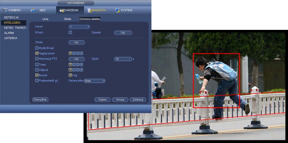 Funkcje inteligentnej analizy obrazu (IVS).