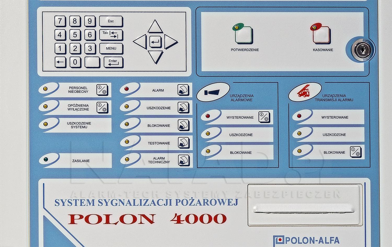 Rozmieszczenie przycisków na fornt panelu centrali pożarowej POLON 4200