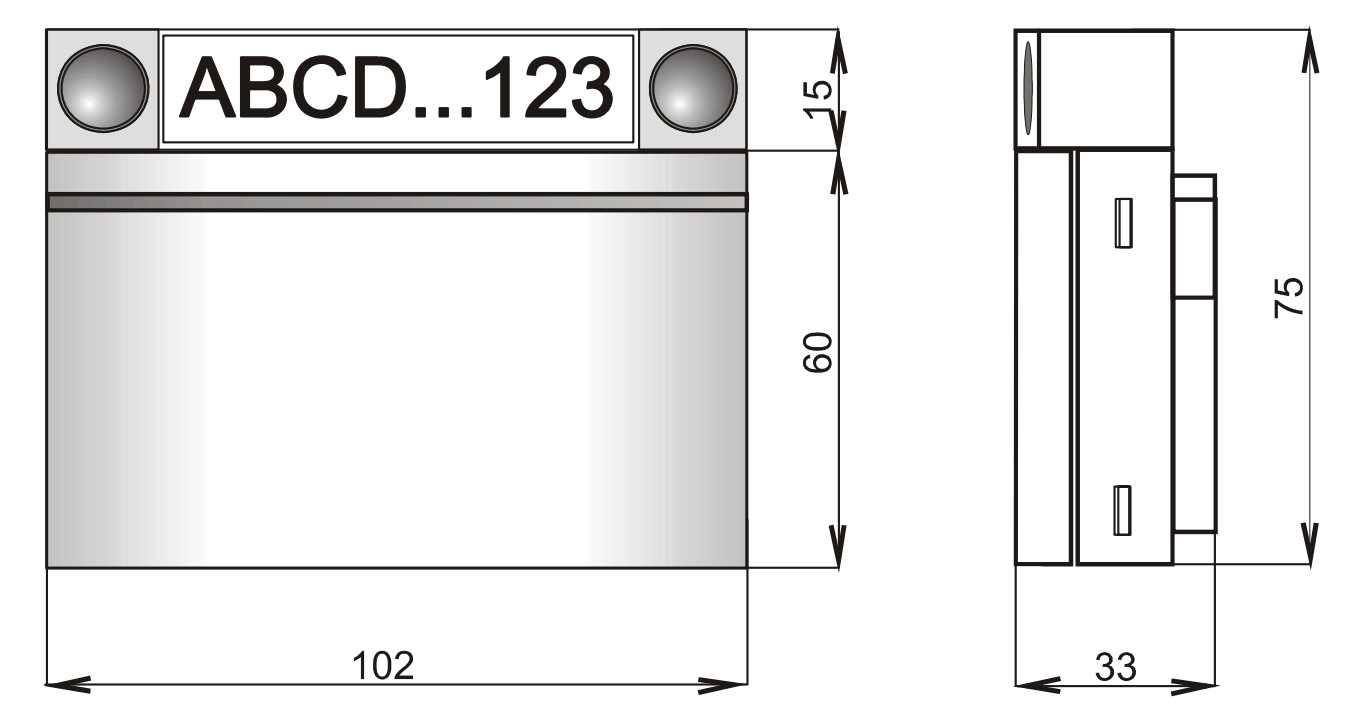 JA-112E - Wymiary czytnika RFiD (BUS).