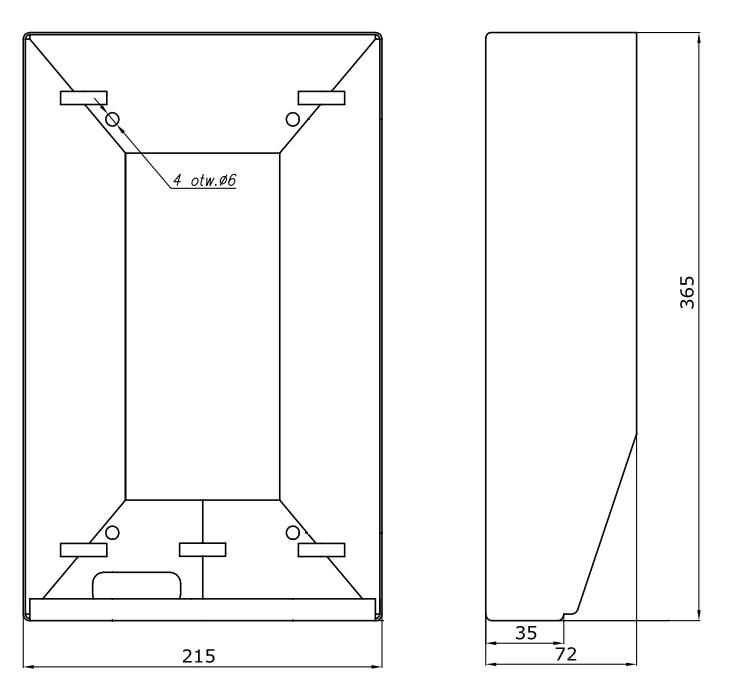 DAX-4-2V - Wymiary obudowy natynkowej.