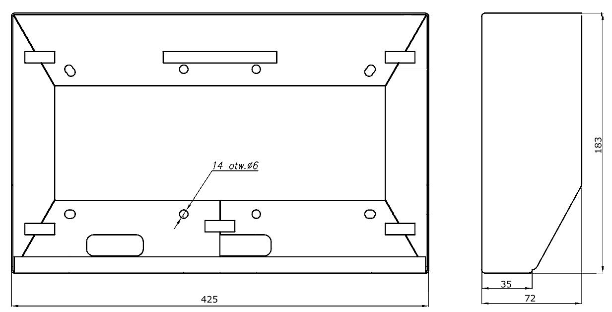 DAX-4-2H - Wymiary obudowy natynkowej.