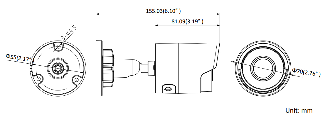 Wymiary kamery sieciowej Hikvision.