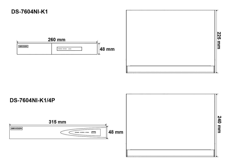 Wymiary rejestratora sieciowego Hikvision.