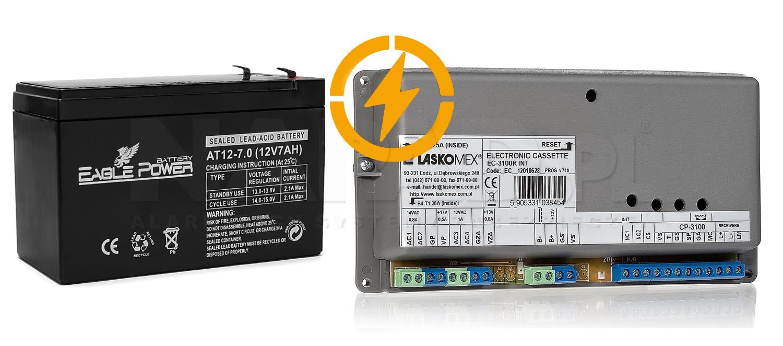 CD3100NP - Współpraca centralki z akumulatorem 12V 7Ah.