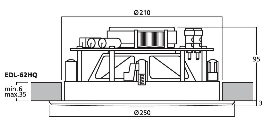 EDL-62HQ - Wymiary głośnika sufitowego.