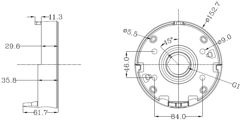 Rozstaw otworów montażowych w uchwycie HD 2060.