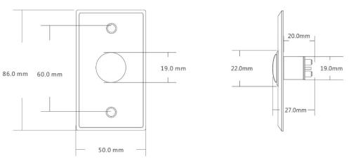 Wymiary przycisk EB-K3