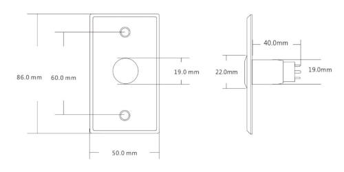 Wymiary przycisk EB-K3LED