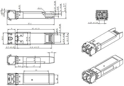 SF-SM31020D-GP - Wymiary modułu SFP GBC Photonics.