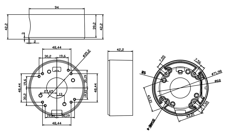 B220 - Wymiary uchwytu kamer IPOX.