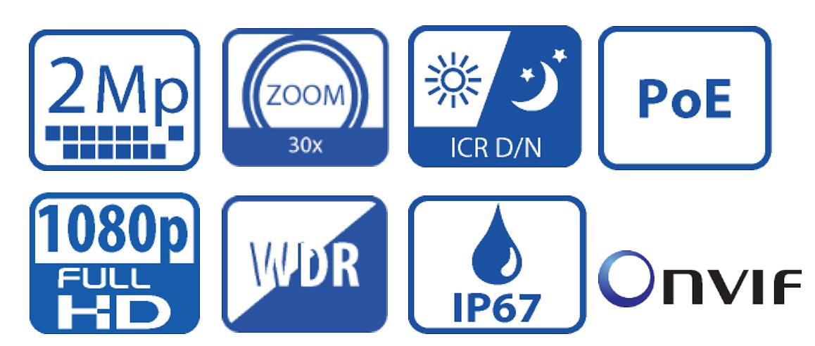 Ikonki specyfikacji kamery IP PTZ.